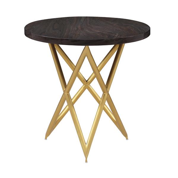 Armen Living Atala Brown Veneer End Table With Brushed Gold Legs LCATLABRGLD