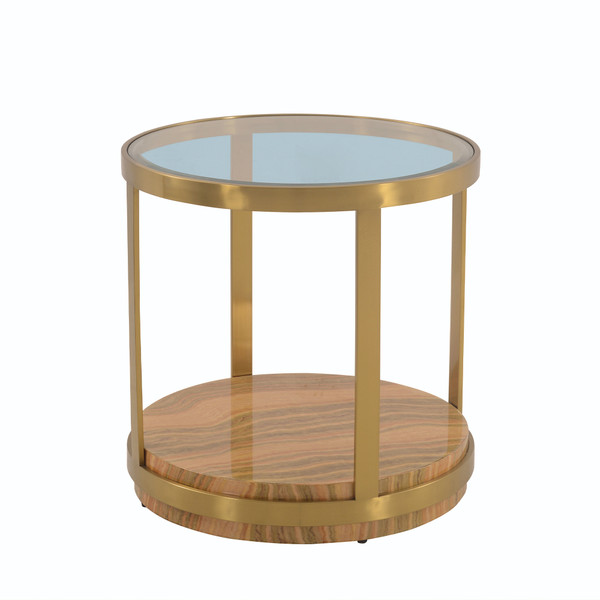 Armen Living Hattie Glass Top End Table With Brushed Gold Legs LCDXLAGLGLD