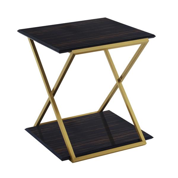 Armen Living Westlake Dark Brown Veneer End Table With Brushed Gold Legs LCWLLABRGLD