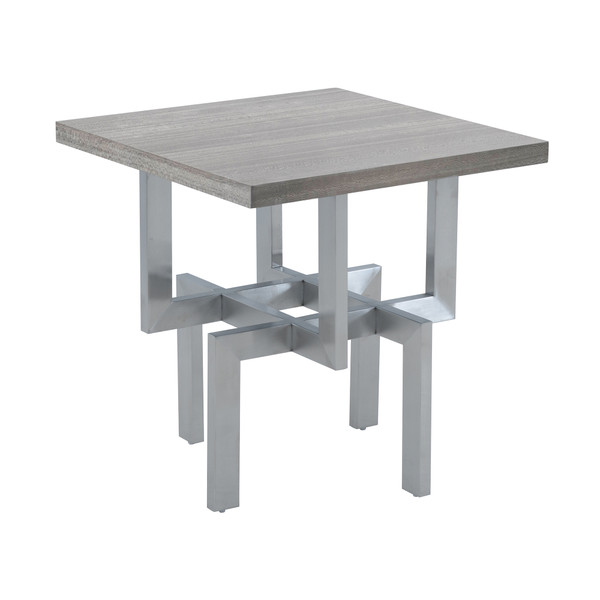 Armen Living Illusion Gray Wood End Table With Brushed Stainless Steel Base LCILLABSGR