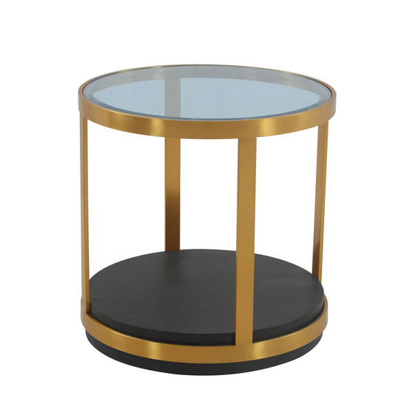 Armen Living Hattie Glass Top And Walnut Wood End Table With Brushed Gold Frame LCOPLABRGLD