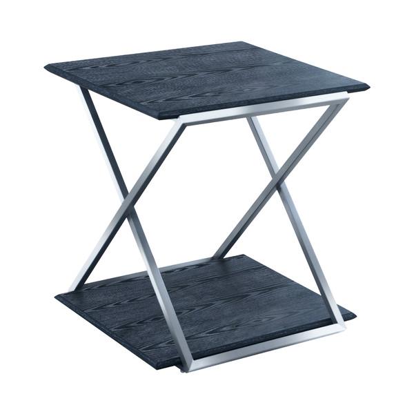 Armen Living Westlake Black Veneer End Table With Brushed Stainless Steel Frame LCPDLABLBS