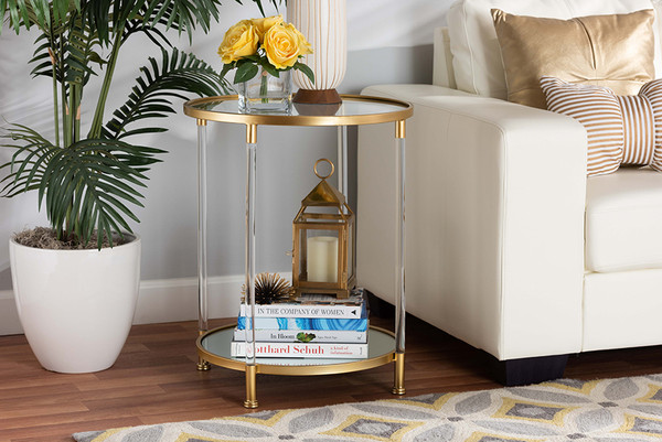 Aubrie Glam And Luxe Brushed Gold Finished Metal And Mirrored Glass Round Accent End Table With Acrylic Legs By Baxton Studio JY20A151-Clear/Gold-ET