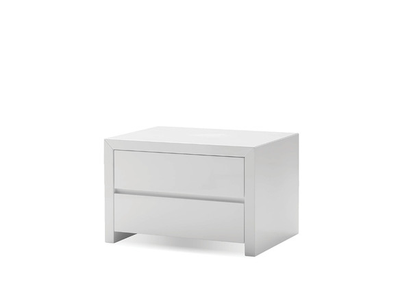 Night Table Blanche High Gloss White, 2 Drawers NIGBLANWHIT By Mobital