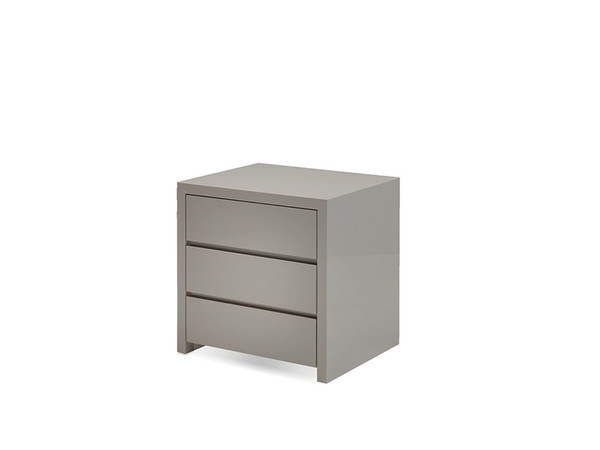 Night Table Blanche High Gloss Stone, 3 Drawers NI3BLANSTON By Mobital