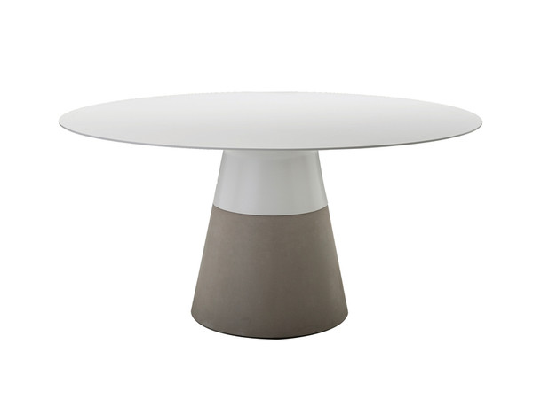 Dining Table Maldives 49In White Solid Surface, Concrete Base DTAMALDWHIT49IN By Mobital