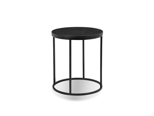 Top Of End Table Onix Round, Semi-Honed Black Marble WENONIXBLACROTOP By Mobital
