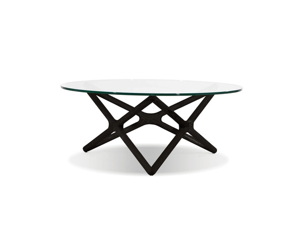 Coffee Table Quasar Clear Glass Top/Solid Wood Ash WCOQUASBBEE By Mobital