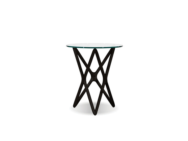 End Table Quasar Tall Clear Glass Top/Solid Ash Black WENQUASBBEETALL9 By Mobital