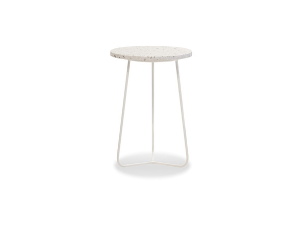 End Table Rizzo Tall-White Terrazzo Marble/White Frame WENRIZZWTERTALL9 By Mobital