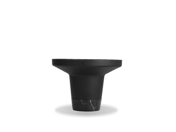 End Table Spacer Matte Black Powder Coated Aluminum/Black Marble Base WENSPACMBLAMARBL By Mobital