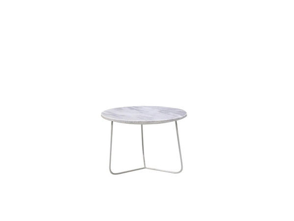 End Table Tripoli Low White Marble Top, White Powder Coated Base WENTRIPMAWHLOW99 By Mobital