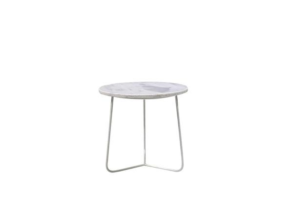 End Table Tripoli Medium White Marble Top, White Powder Coated Base WENTRIPMAWHMEDIU By Mobital