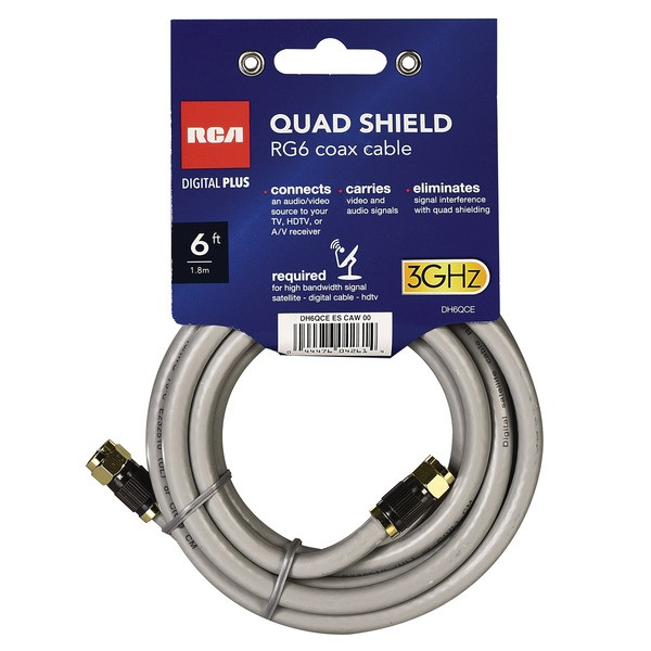 Quad-Shield Rg6 Coax Cable, 6 Feet RCADH6QCE By Petra