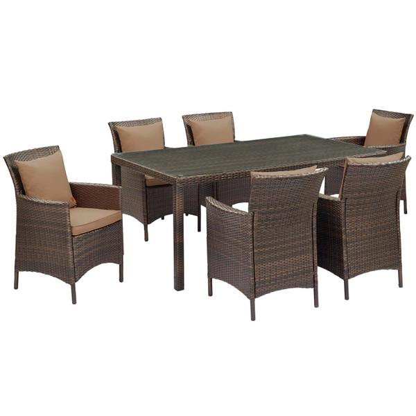 Modway Conduit 7 Piece Outdoor Patio Wicker Rattan Dining Set EEI-4032-BRN-MOC-SET