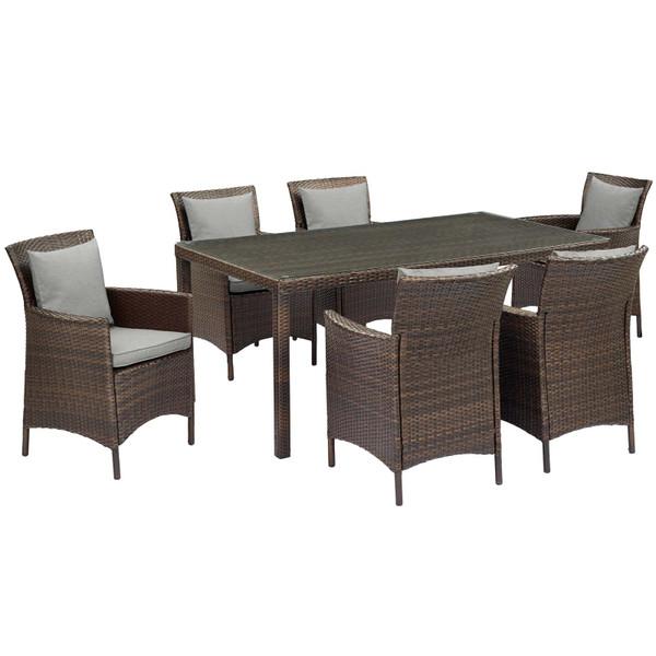 Modway Conduit 7 Piece Outdoor Patio Wicker Rattan Dining Set EEI-4032-BRN-GRY-SET