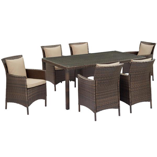 Modway Conduit 7 Piece Outdoor Patio Wicker Rattan Dining Set EEI-4032-BRN-BEI-SET