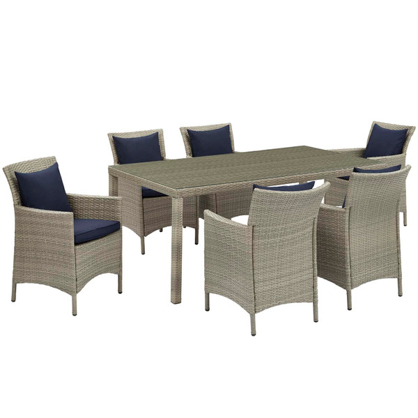 Modway Conduit 7 Piece Outdoor Patio Wicker Rattan Dining Set EEI-4015-LGR-NAV-SET