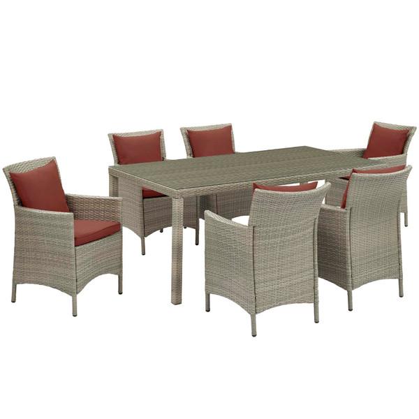 Modway Conduit 7 Piece Outdoor Patio Wicker Rattan Dining Set EEI-4015-LGR-CUR-SET
