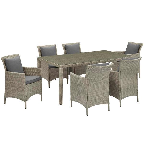 Modway Conduit 7 Piece Outdoor Patio Wicker Rattan Dining Set EEI-4015-LGR-CHA-SET