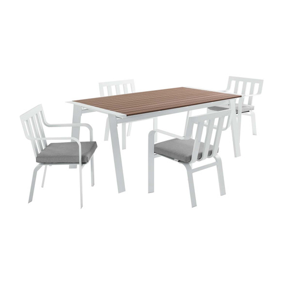 Modway Baxley 5 Piece Outdoor Patio Aluminum Dining Set EEI-3964-WHI-GRY