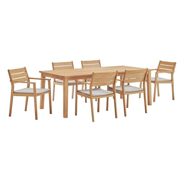Modway Viewscape 7 Piece Outdoor Patio Ash Wood Dining Set EEI-3839-NAT-TAU-SET
