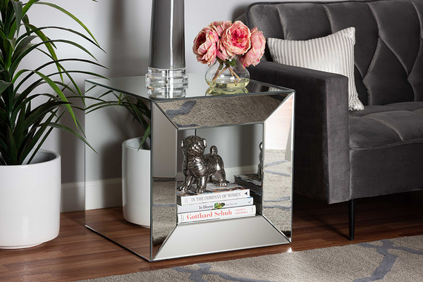 Baxton Studio Peregrine Glam And Luxe Mirrored Glass End Table RXW-1000-ET