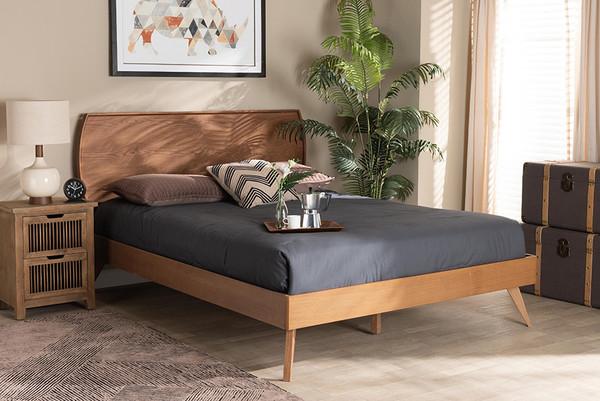 Baxton Studio Aimi Mid-Century Modern Walnut Brown Finished Wood Full Size Platform Bed Aimi-Ash Walnut-Full