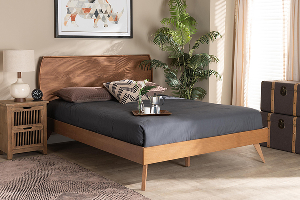 Baxton Studio Aimi Mid-Century Modern Walnut Brown Finished Wood King Size Platform Bed Aimi-Ash Walnut-King