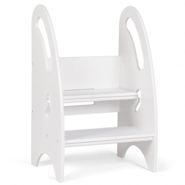 HW58598WH Kids Height Adjustable Growing Kitchen Step Stool-White