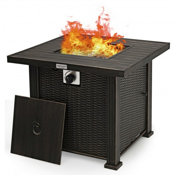 "OP70698 30"" 50000 Btu Square Propane Gas Fire Pit Table"