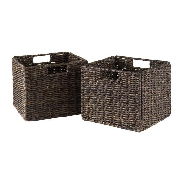 Winsome Granville Foldable 2-Piece Small Corn Husk Baskets, Chocolate 38211