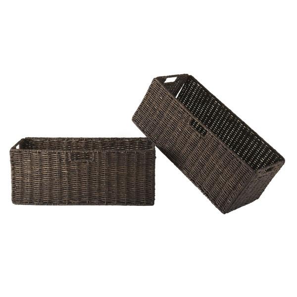 Winsome Granville Foldable 2-Piece Large Corn Husk Baskets, Chocolate 38223