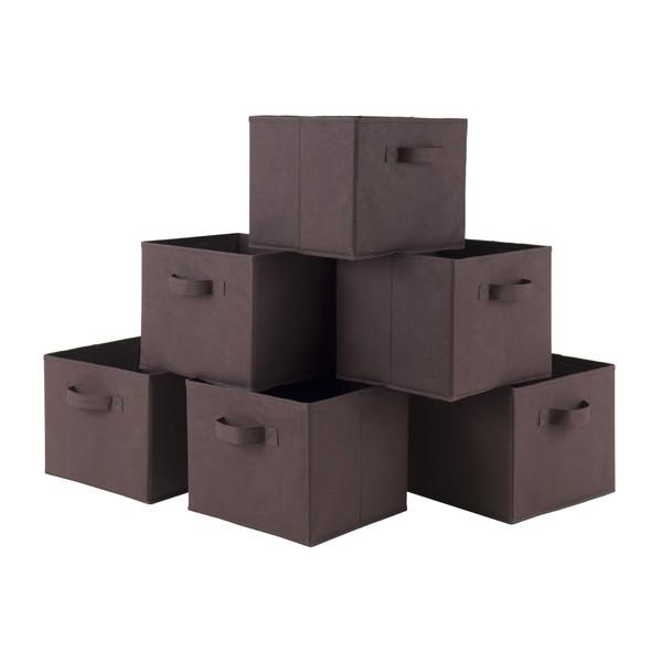 Winsome Capri Set Of 6 Foldable Chocolate Fabric Baskets 38622