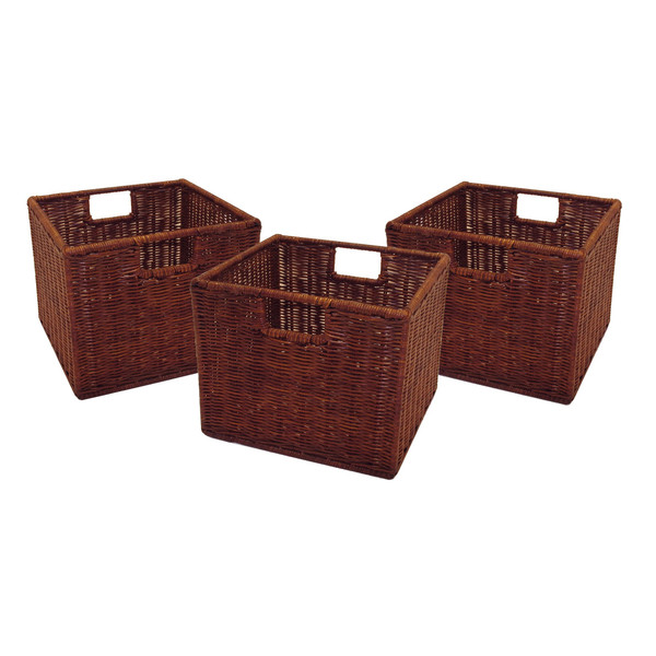 Winsome Leo Set Of 3 Wired Baskets, Small - Antique Walnut 92310