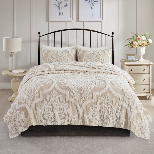 Viola 3 Piece Tufted Cotton Chenille Damask Coverlet Set - Full/Queen By Madison Park MP13-7106