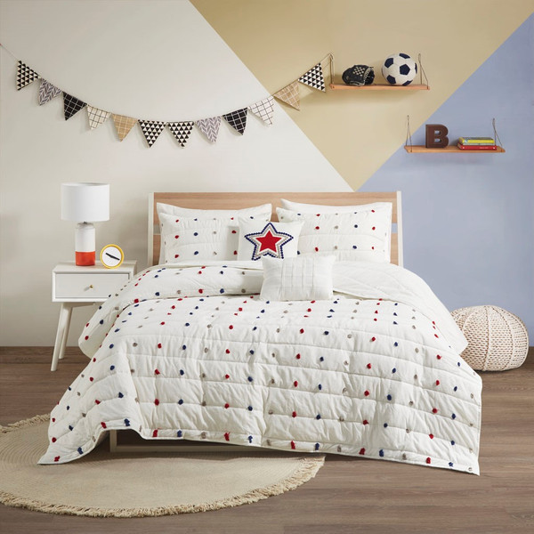 Callie Cotton Jacquard Pom Pom Coverlet Set - Twin By Urban Habitat Kids UHK13-0150