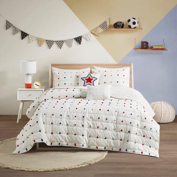 Callie Cotton Jacquard Pom Pom Coverlet Set - Full/Queen By Urban Habitat Kids UHK13-0151