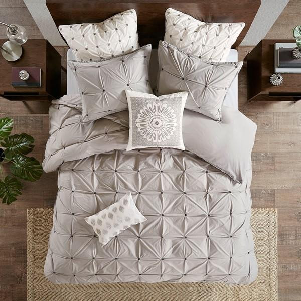 Ink Ivy Masie 3 Piece Elastic Embroidered Cotton Duvet Cover Set II12-1046 By Olliix
