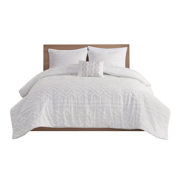 Intelligent Design Annie Solid Clipped Jacquard Duvet Cover Set Id12-1836 ID12-1836 By Olliix
