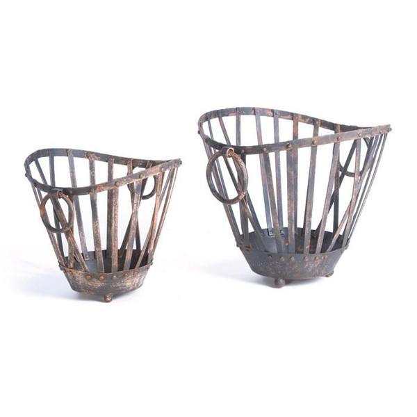 2 Piece Painted Iron Market Baskets