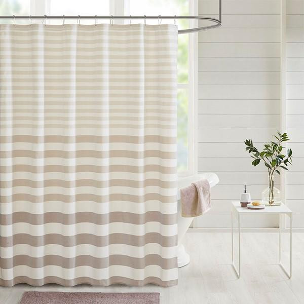 Madison Park Aviana Stripe Blended Yarn Dyed Woven Shower Curtain Mp70-6144 MP70-6144 By Olliix