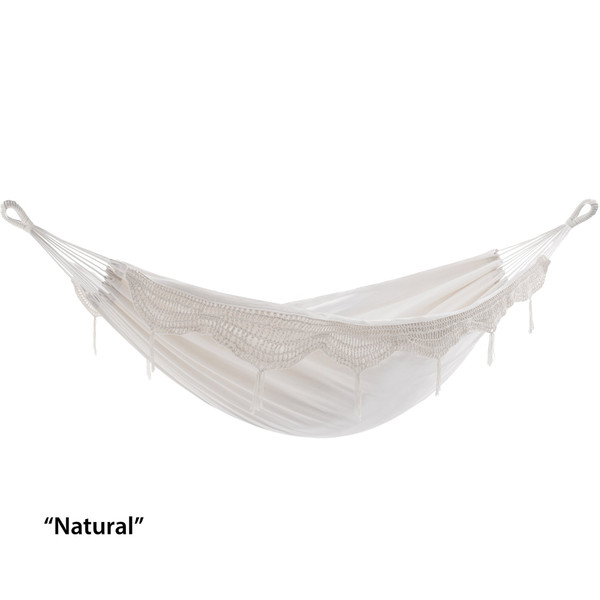 Brazilian Style Hammock - Double (Natural With Fringe) BRAZ200 By Vivere