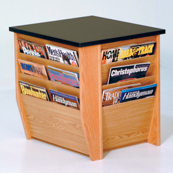 End Table With Magazine Pockets, Black Granite-Look Top, Light Oak DM1-BGLO By Wooden Mallet