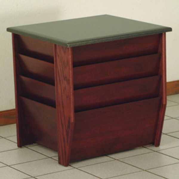 End Table With Magazine Pockets, Black Granite-Look Top, Mahogany DM1-BGMH By Wooden Mallet