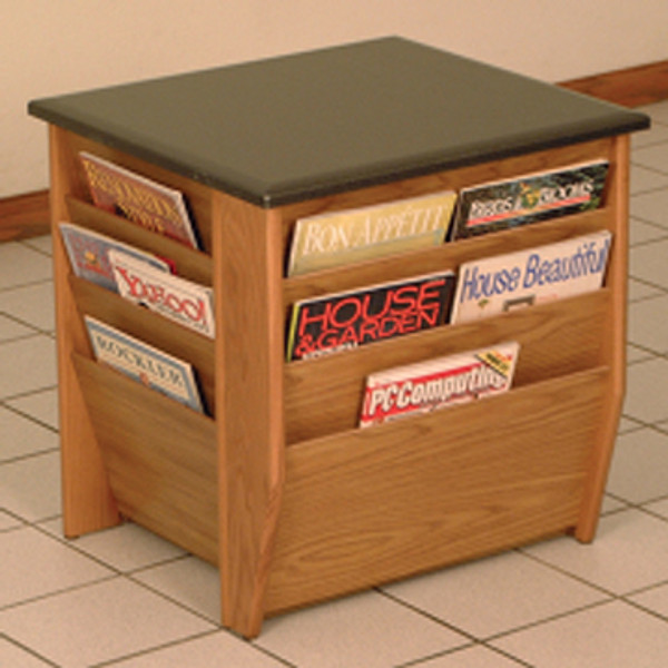 End Table With Magazine Pockets, Black Granite-Look Top, Medium Oak DM1-BGMO By Wooden Mallet