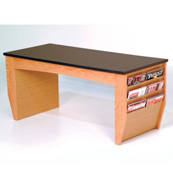 Coffee Table With Magazine Pockets, Black Granite-Look Top, Light Oak DM2-BGLO By Wooden Mallet
