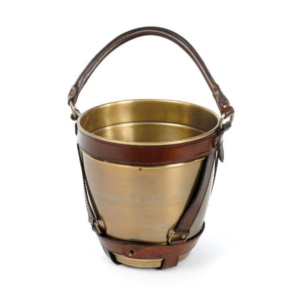 Brass And Leather Bucket