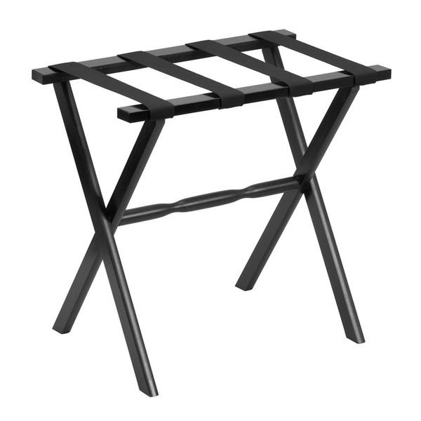 Hotel Black Finish Wood Folding Luggage Rack With Black Straps 383079 By Homeroots