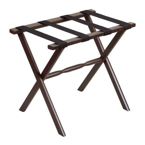 Hotel Dark Walnut Finish Wood Folding Luggage Rack With Tan Straps 383081 By Homeroots